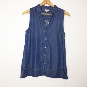 J.Jill denim sleeveless chambray button-down shirt